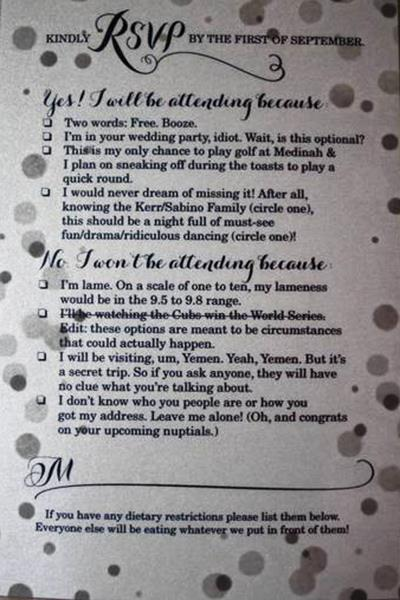 Funniest Wedding Invitation RSVP