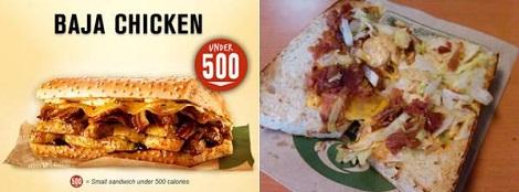 Fast Food Advertising Vs. Reality Quiznos Baja Chicken Sandwich