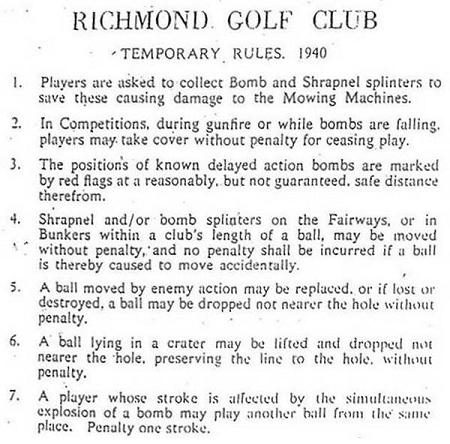 Rules For Golfing During The Blitz